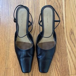 Slingback Close-Toed Black Dress Shoes
